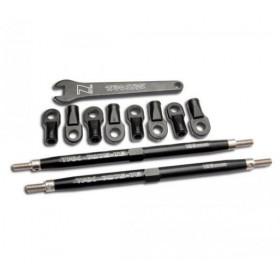 Toe links, Revo (Tubes 7075-T6 aluminum, black)(128mm, fits-TRX-5338A